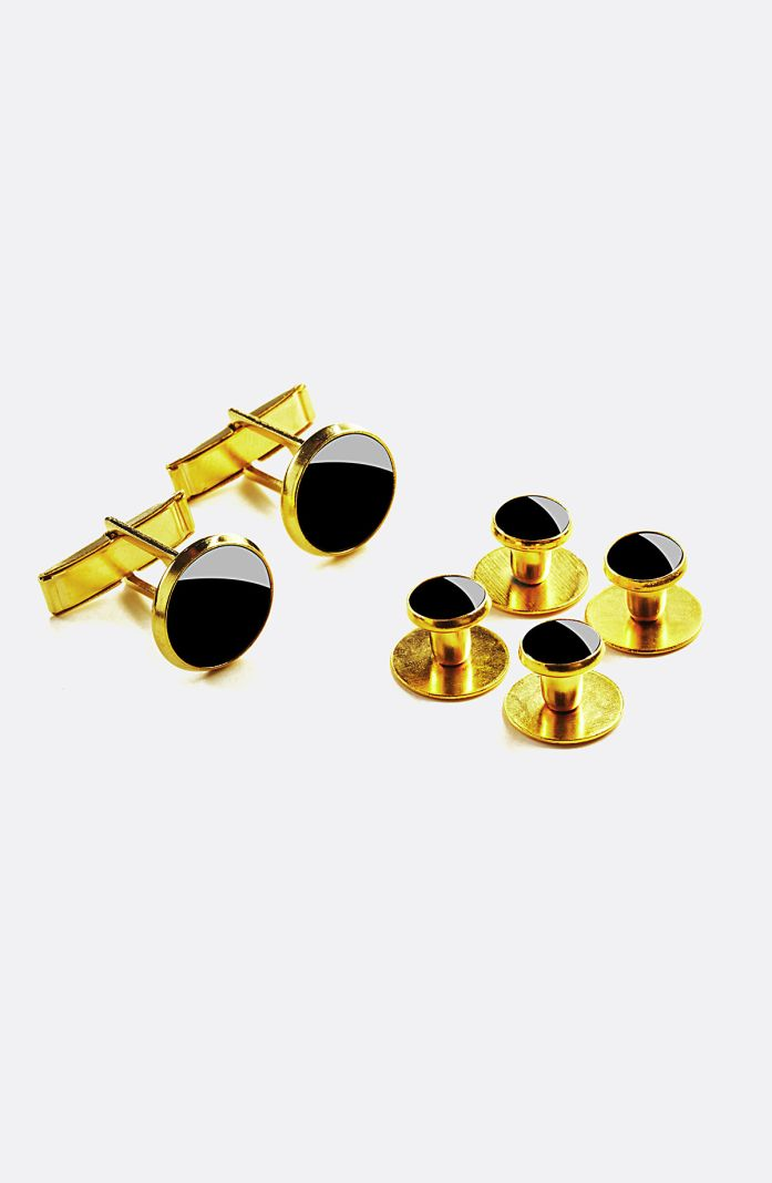 Style 1090GD - Gold Studs & Cuff Links Set