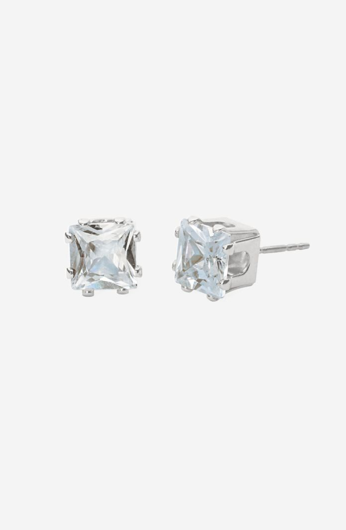 Style 1065C - Silver Square-Cut CZ Pierced Earrings