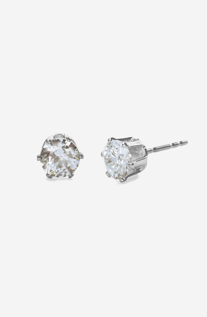 Style 1078C - Silver CZ Pierced Earrings