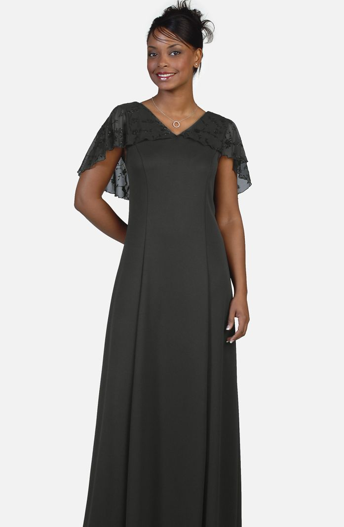 Style 3620TX - Performance Knit Dress with Velvet Flocked Chiffon Cape