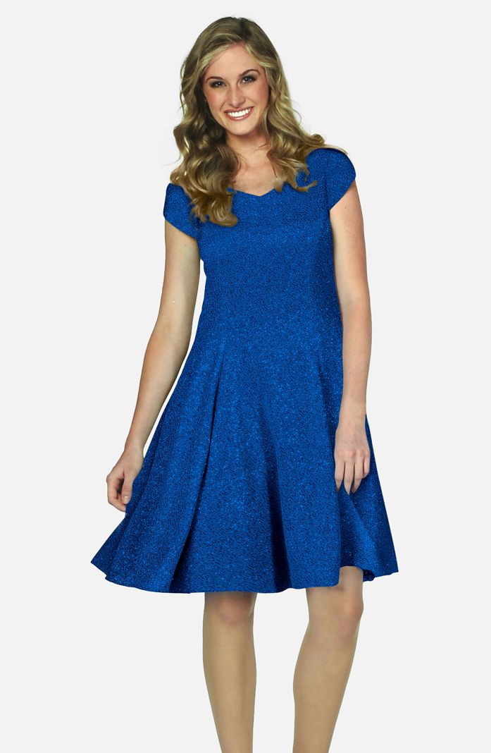 Style S3786GN - Glitter Knit Swing Dress